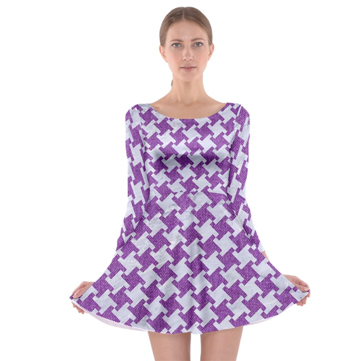 HOUNDSTOOTH2 WHITE MARBLE & PURPLE DENIM Long Sleeve Skater Dress