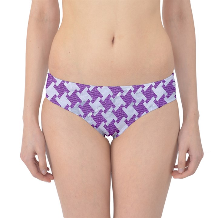 HOUNDSTOOTH2 WHITE MARBLE & PURPLE DENIM Hipster Bikini Bottoms