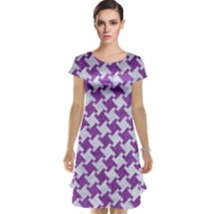 Houndstooth2 White Marble & Purple Denim Cap Sleeve Nightdress