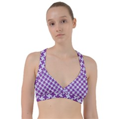 Houndstooth2 White Marble & Purple Denim Sweetheart Sports Bra