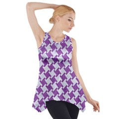 Houndstooth2 White Marble & Purple Denim Side Drop Tank Tunic
