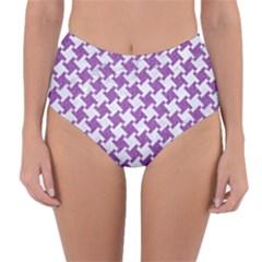 Houndstooth2 White Marble & Purple Denim Reversible High Waist Bikini Bottoms