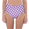 HOUNDSTOOTH2 WHITE MARBLE & PURPLE DENIM Reversible High-Waist Bikini Bottoms View1