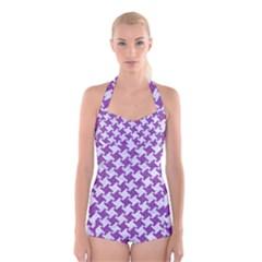 Houndstooth2 White Marble & Purple Denim Boyleg Halter Swimsuit