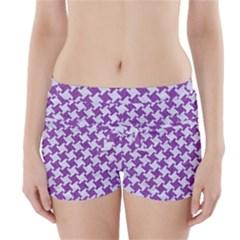 Houndstooth2 White Marble & Purple Denim Boyleg Bikini Wrap Bottoms