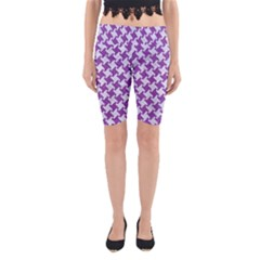 Houndstooth2 White Marble & Purple Denim Yoga Cropped Leggings