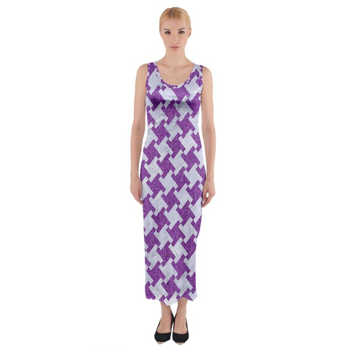 HOUNDSTOOTH2 WHITE MARBLE & PURPLE DENIM Fitted Maxi Dress