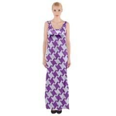 Houndstooth2 White Marble & Purple Denim Maxi Thigh Split Dress