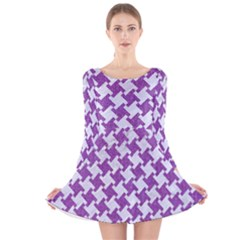 Houndstooth2 White Marble & Purple Denim Long Sleeve Velvet Skater Dress