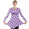 HOUNDSTOOTH2 WHITE MARBLE & PURPLE DENIM Long Sleeve Tunic  View1