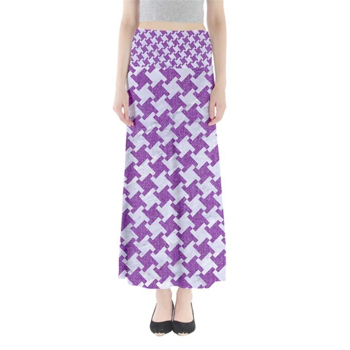 HOUNDSTOOTH2 WHITE MARBLE & PURPLE DENIM Full Length Maxi Skirt
