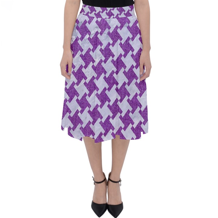 HOUNDSTOOTH2 WHITE MARBLE & PURPLE DENIM Folding Skater Skirt