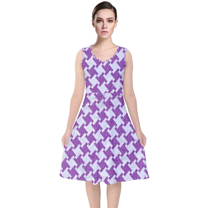 HOUNDSTOOTH2 WHITE MARBLE & PURPLE DENIM V-Neck Midi Sleeveless Dress