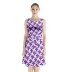 Houndstooth2 White Marble & Purple Denim Sleeveless Waist Tie Chiffon Dress