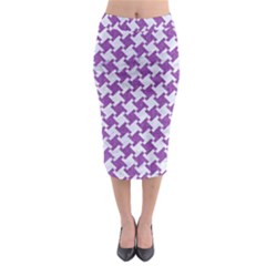 Houndstooth2 White Marble & Purple Denim Midi Pencil Skirt