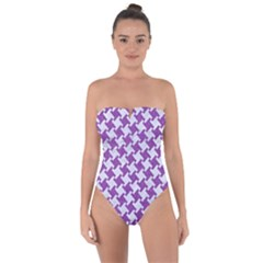 Houndstooth2 White Marble & Purple Denim Tie Back One Piece Swimsuit