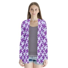 Houndstooth2 White Marble & Purple Denim Drape Collar Cardigan