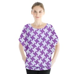 Houndstooth2 White Marble & Purple Denim Blouse