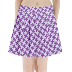 Houndstooth2 White Marble & Purple Denim Pleated Mini Skirt
