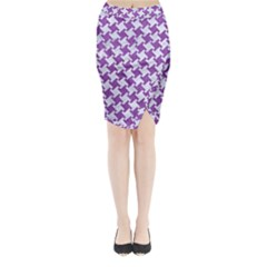 Houndstooth2 White Marble & Purple Denim Midi Wrap Pencil Skirt