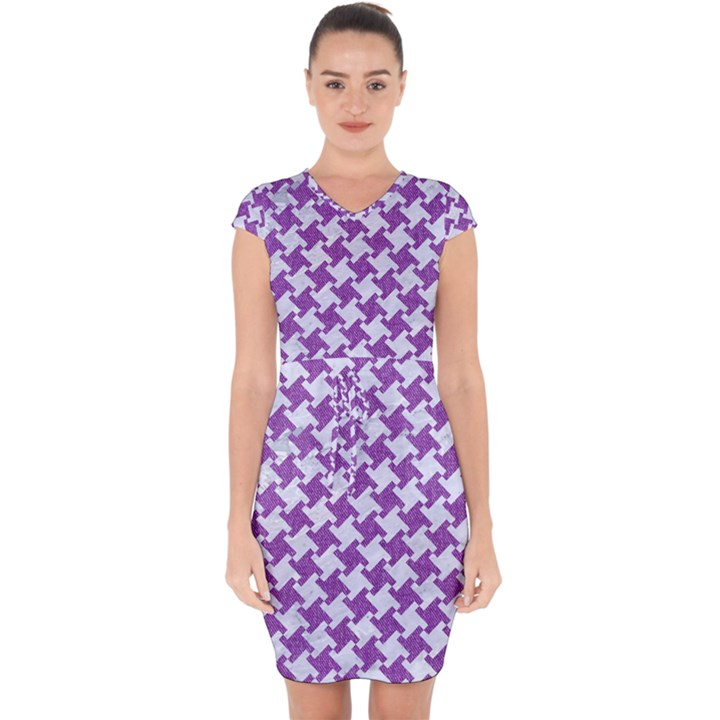 HOUNDSTOOTH2 WHITE MARBLE & PURPLE DENIM Capsleeve Drawstring Dress