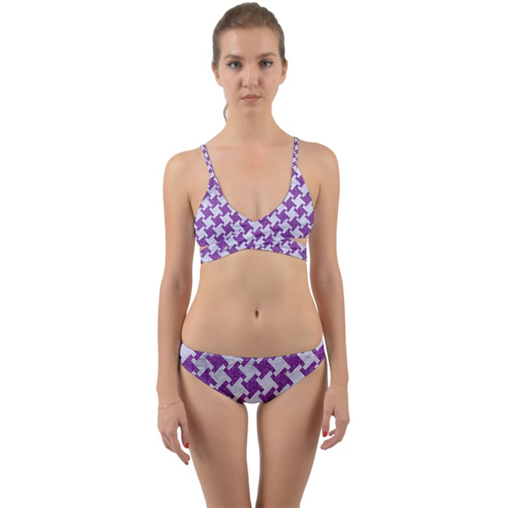 HOUNDSTOOTH2 WHITE MARBLE & PURPLE DENIM Wrap Around Bikini Set