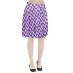 Houndstooth2 White Marble & Purple Denim Pleated Skirt