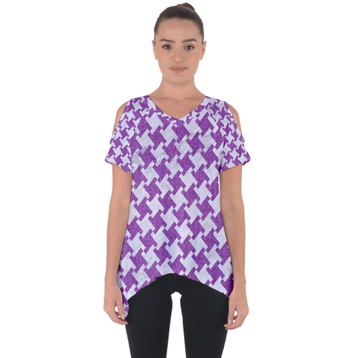 HOUNDSTOOTH2 WHITE MARBLE & PURPLE DENIM Cut Out Side Drop Tee