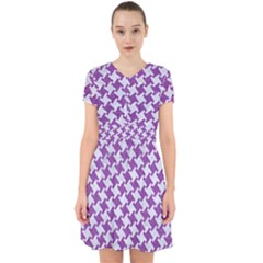 Houndstooth2 White Marble & Purple Denim Adorable In Chiffon Dress