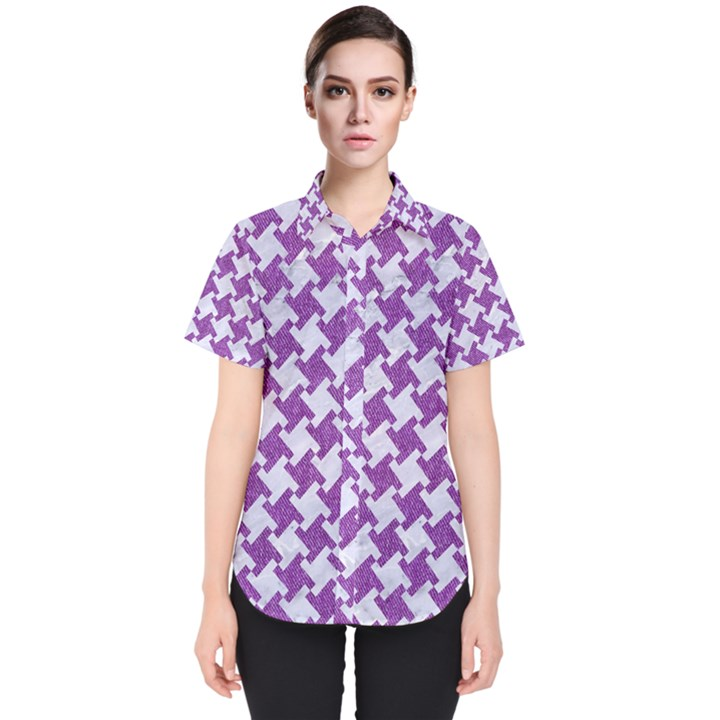 HOUNDSTOOTH2 WHITE MARBLE & PURPLE DENIM Women s Short Sleeve Shirt
