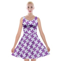 Houndstooth2 White Marble & Purple Denim Velvet Skater Dress