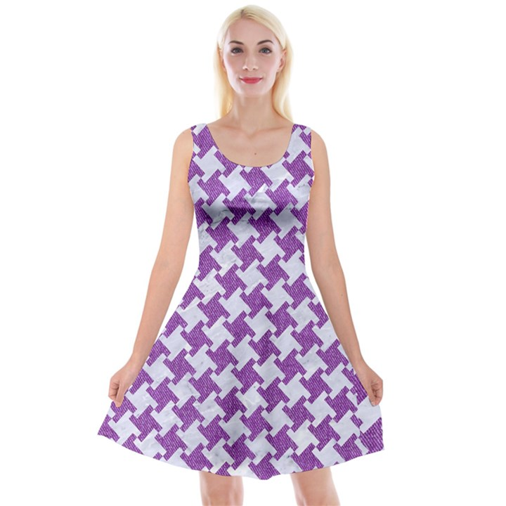 HOUNDSTOOTH2 WHITE MARBLE & PURPLE DENIM Reversible Velvet Sleeveless Dress