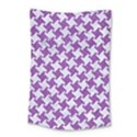 HOUNDSTOOTH2 WHITE MARBLE & PURPLE DENIM Small Tapestry View1