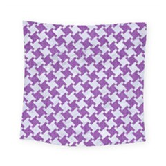 Houndstooth2 White Marble & Purple Denim Square Tapestry (small)