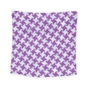 HOUNDSTOOTH2 WHITE MARBLE & PURPLE DENIM Square Tapestry (Small) View1