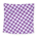 HOUNDSTOOTH2 WHITE MARBLE & PURPLE DENIM Square Tapestry (Large) View1