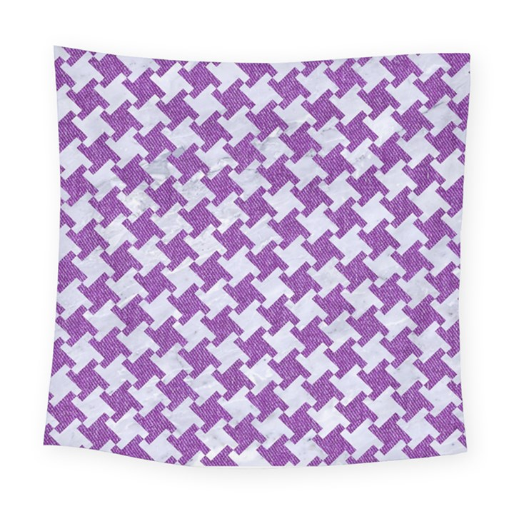HOUNDSTOOTH2 WHITE MARBLE & PURPLE DENIM Square Tapestry (Large)