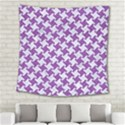 HOUNDSTOOTH2 WHITE MARBLE & PURPLE DENIM Square Tapestry (Large) View2