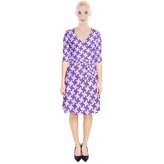 Houndstooth2 White Marble & Purple Denim Wrap Up Cocktail Dress