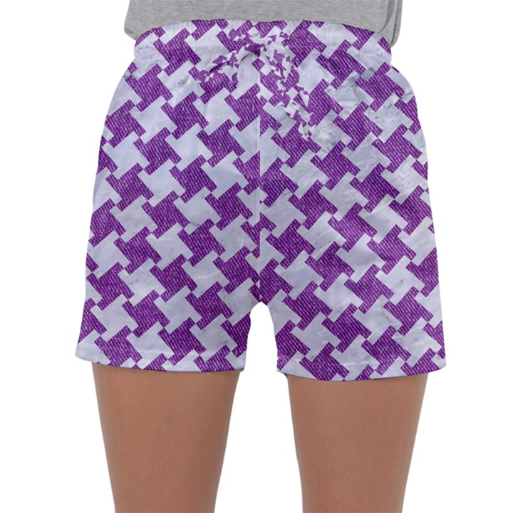 HOUNDSTOOTH2 WHITE MARBLE & PURPLE DENIM Sleepwear Shorts