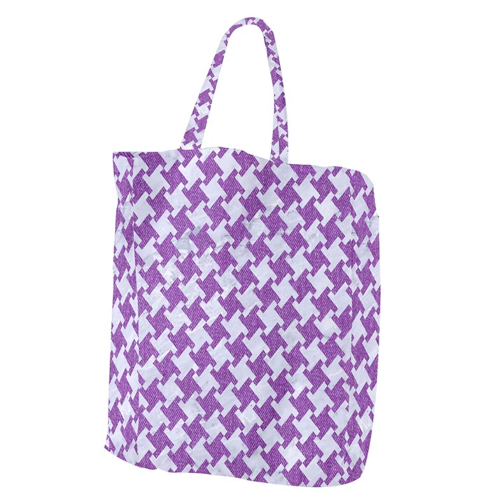 HOUNDSTOOTH2 WHITE MARBLE & PURPLE DENIM Giant Grocery Zipper Tote