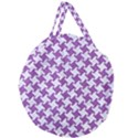 HOUNDSTOOTH2 WHITE MARBLE & PURPLE DENIM Giant Round Zipper Tote View1