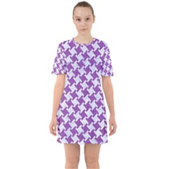 Houndstooth2 White Marble & Purple Denim Sixties Short Sleeve Mini Dress