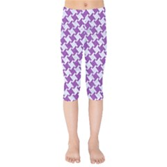 Houndstooth2 White Marble & Purple Denim Kids  Capri Leggings