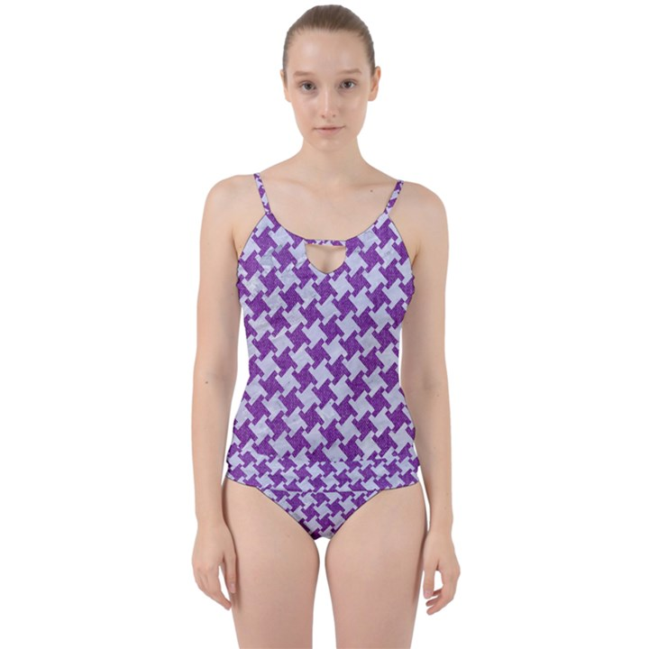 HOUNDSTOOTH2 WHITE MARBLE & PURPLE DENIM Cut Out Top Tankini Set