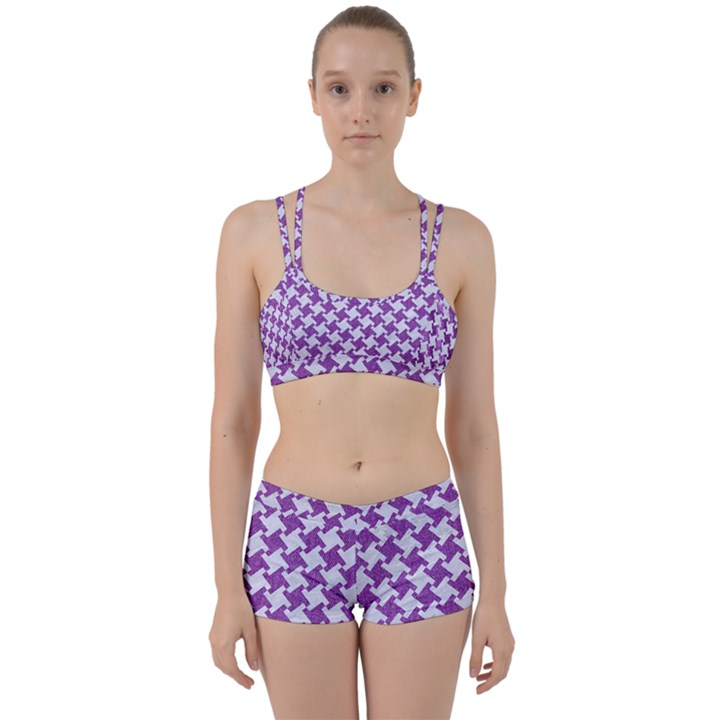 HOUNDSTOOTH2 WHITE MARBLE & PURPLE DENIM Women s Sports Set