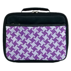 Houndstooth2 White Marble & Purple Denim Lunch Bag