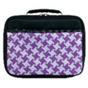 HOUNDSTOOTH2 WHITE MARBLE & PURPLE DENIM Lunch Bag View1