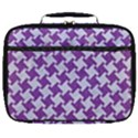 HOUNDSTOOTH2 WHITE MARBLE & PURPLE DENIM Full Print Lunch Bag View1