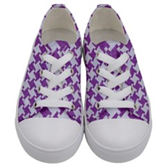 Houndstooth2 White Marble & Purple Denim Kids  Low Top Canvas Sneakers